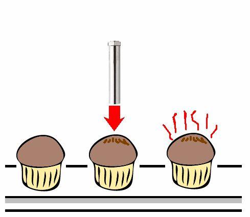 熱風ヒーターによるお菓子の焼き色付け