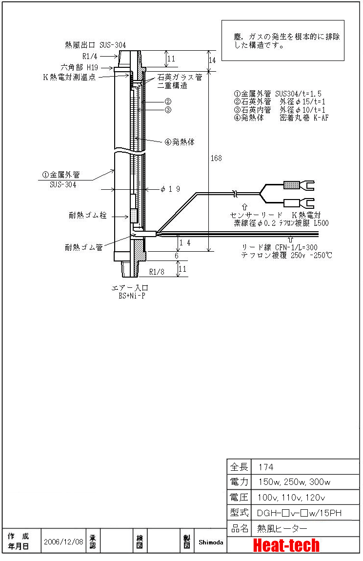 《 クリーンルーム・耐環境用熱風ヒーター 》DGH-15PH