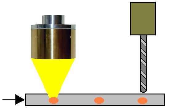 ハロゲンポイントヒーターによるパイプの穴加工の表面張力除去