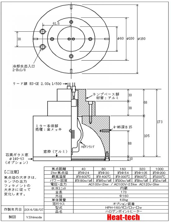高出力ハロゲンポイントヒーターHPH-160 外形図