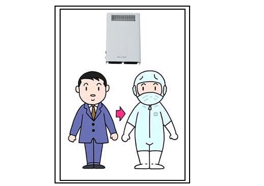 オゾン型殺菌消臭器によるエアシャワーでの除菌