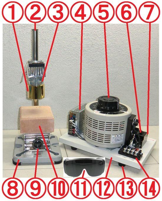 組立例-ハロゲンポイントヒーター ラボキット HPH-60A/f30-450w