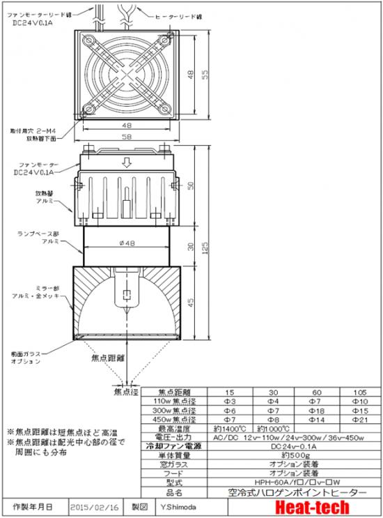 ハロゲンポイントヒーター ラボキット HPH-60A/f30-450w 外形図
