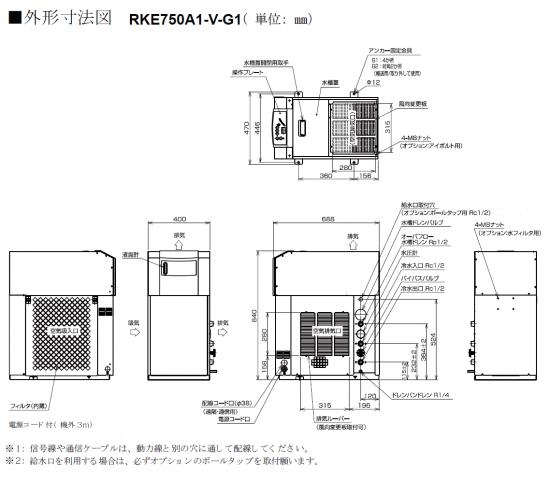 ハロゲンヒーター用冷却水ユニットクーラーRKE 750 外形寸法図