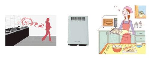 オゾン型殺菌消臭器による台所のにおいの脱臭