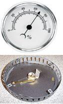 バイメタル式湿度計の内部