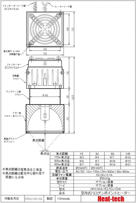 外形寸法-空冷式ハロゲンポイントヒーターHPH-60A