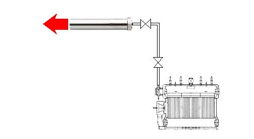 熱風ヒーターによる過熱水蒸気の製造