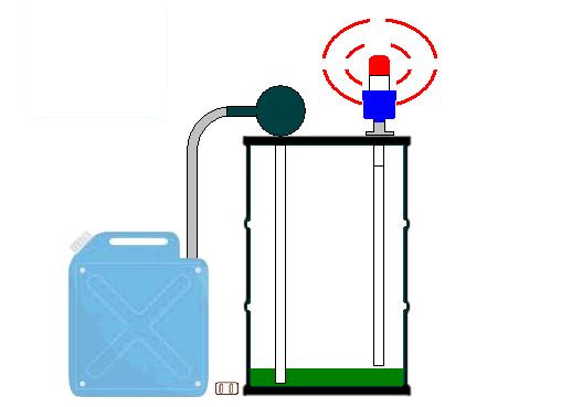ドラム缶液面計による冷却油の残量不足警報