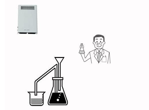 オゾン型殺菌消臭器による実験室の殺菌