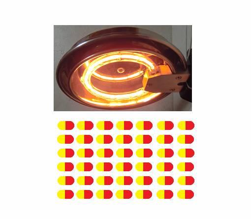 ハロゲンリングヒーターによるカプセル印刷の乾燥
