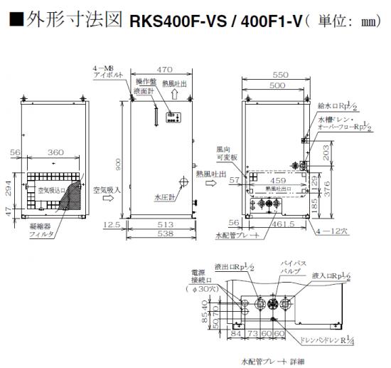 ハロゲンヒーター用冷却水ユニットクーラー RKS外形寸法図