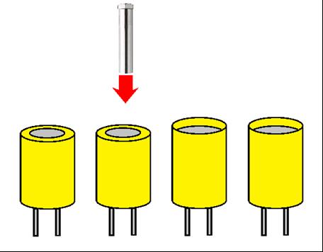 熱風ヒーターによるコンデンサのヒートシュリンク